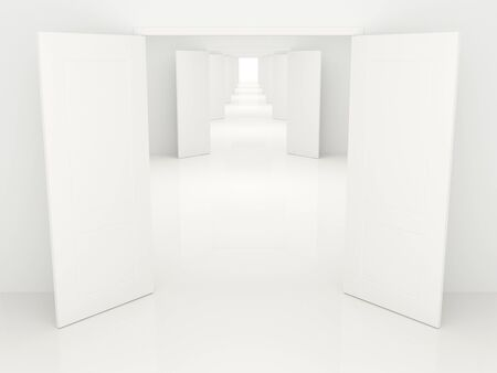 Long corridor with the open white doors, leaving afar. photo