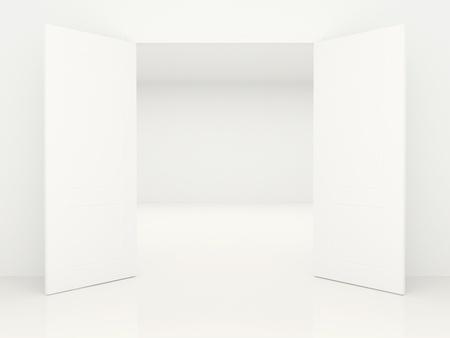 doorstep: Open swing doors and empty room behind them