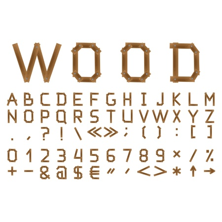 block letters: The wooden alphabet. Include numerals.