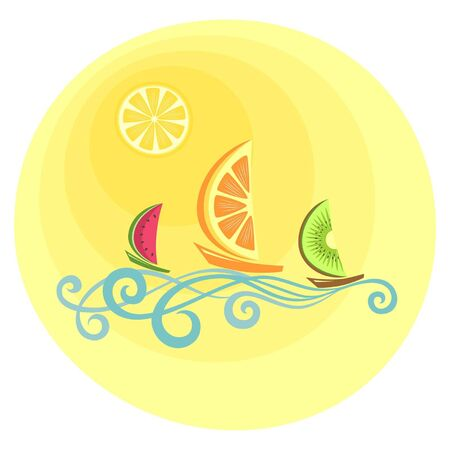 food and beverage: Three boats with fruitlike sails floating on the waves. Abstract illustration