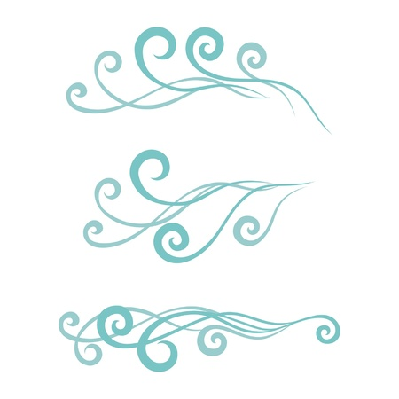 turquoise swirl: Waves. Set vector abstract illustration