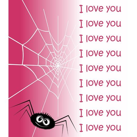 Web in the form of heart and an enamoured spider. A vector illustration by day of Valentine. Vector