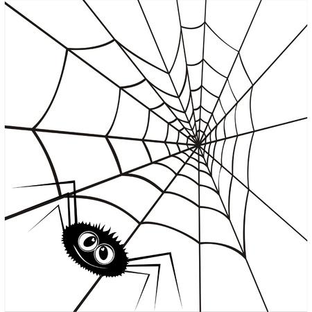 Web in de vorm van hart en een verliefde spin. Een vector illustratie door dag van Valentine.