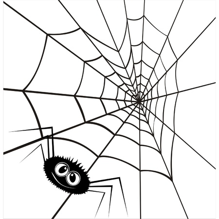 cobwebs: Web in the form of heart and an enamoured spider. A vector illustration by day of Valentine.