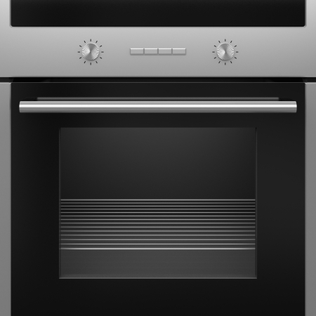 The modern electrical oven with a grid. Isolated.