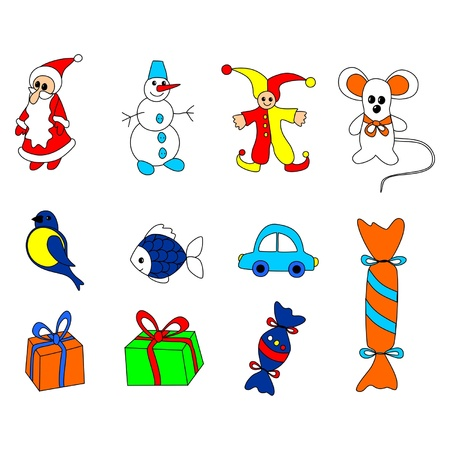 Collection of Christmas toys Stock Vector - 15553981