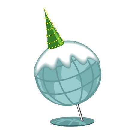 New Year's illustration: Decorated fir-tree on the globe Vector