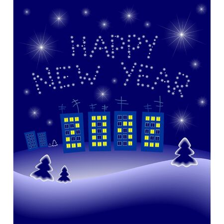 New Year's illustration: night small town, figures from shone windows and a letter from snowflakes Stock Vector - 15695138
