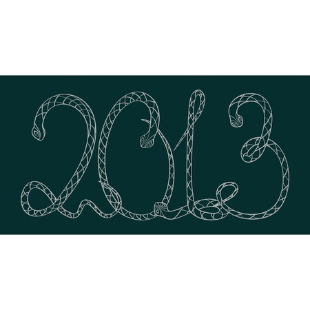 Digits 2013 in the form of snakes - the character of year, on a dark dark cyan background  Vector