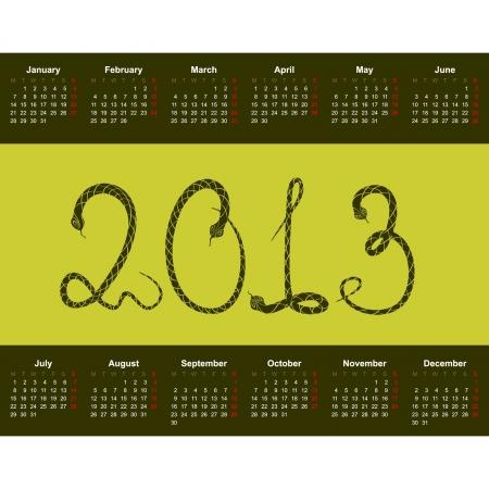 snake calendar: Calendar for 2013 with the character - a snake