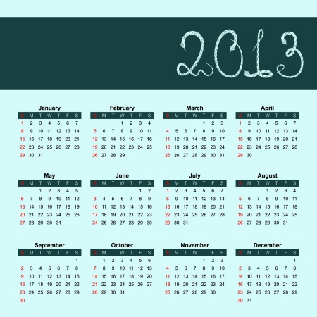 Calendar for 2013 with the character - a snake  Vector