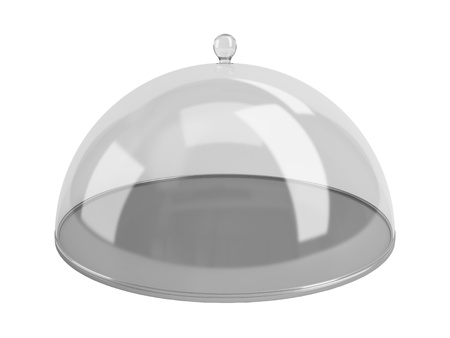 chrome base: Round dish closed by the transparent calotte. Isolated on a white background.