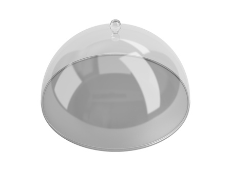 Round dish closed by the transparent calotte. Isolated on a white background. photo