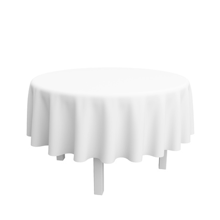 round table: The empty round desktop covered with a white cloth. Isolated on a white background. Stock Photo