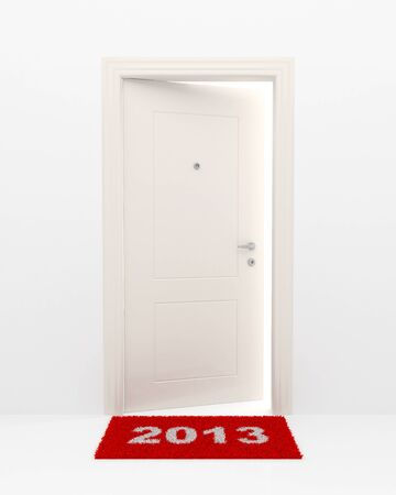 New Years illustration. A rug 2013 and the slightly opened white door. Stock Photo