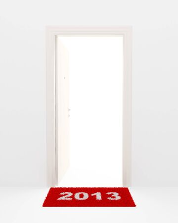 New Years illustration. Rug 2013 and open white door.