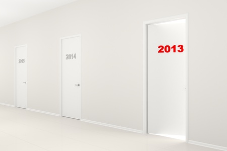 White long corridor with doors 2014, 2015 and the slightly opened door 2013. New Years illustration.  illustration