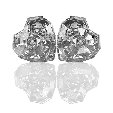 Illustration by St. Valentine's Day: two crystals in the form of hearts. Isolated on a white background. Stock Illustration - 17348722