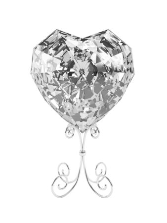 Illustration by St. Valentine's Day: crystal in the form of heart on a support. Stock Illustration - 17348721