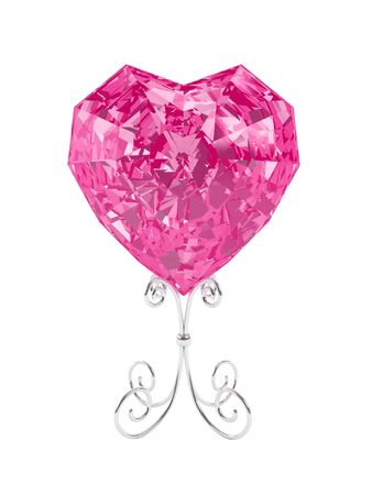 Illustration by St. Valentine's Day: pink crystal in the form of heart on a support. Stock Illustration - 17348720