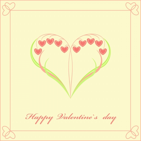Valentine's Day card with flowers in the form of heart. Vector illustration. Stock Vector - 17438652