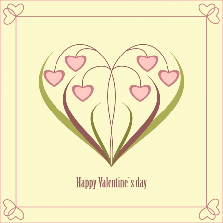 Valentine's Day card with flowers in the form of heart. Vector illustration. Stock Vector - 17438650