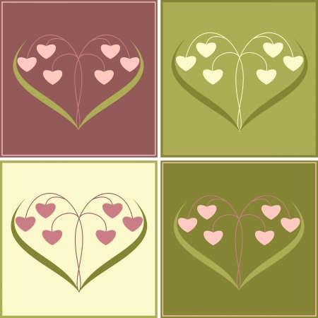 Valentine's Day card with flowers in the form of heart. Vector illustration. Stock Vector - 17438648