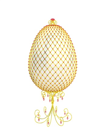 priceless: The Easter egg decorated with gold and jewels. Isolated on a white background.