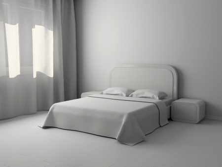 double bed: White interior of a bedroom with a big double bed
