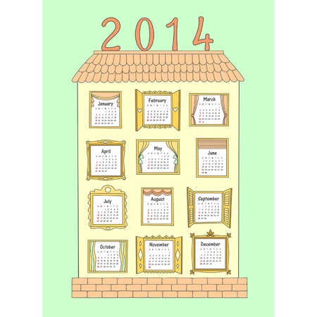 large house: Calendar for the year 2014 as drawn a large house with 12 different Windows for each month.