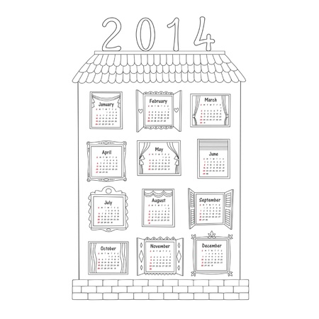 large house: Calendar for the year 2014, drawn by the contours of a large house with 12 different Windows for each month.