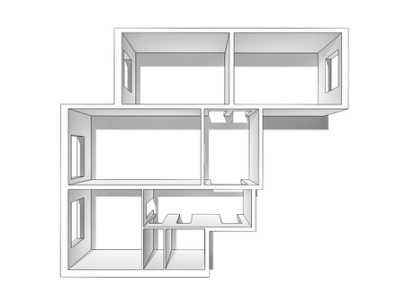 housing development: White layout apartments, outlined with a black outline. View from the top. Isolated on a white background.
