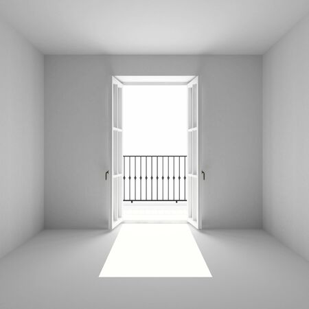 the empty room with open french window