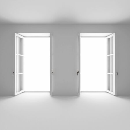 the empty room with two french windows open Stock fotó - 133976277