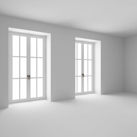 the empty room with two french windows closed