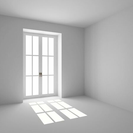 the empty room with french window closed Stock fotó