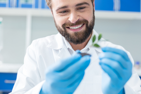 Ecological project. Joyful positive male biologist looking at the plant and smiling while working on an ecological project