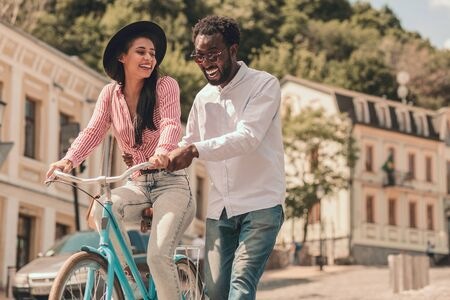 Riding bike and having fun stock photo