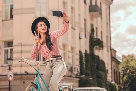 Cute selfie on the bike stock photo
