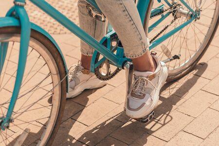 Bike pedal with foot on it stock photo Фото со стока