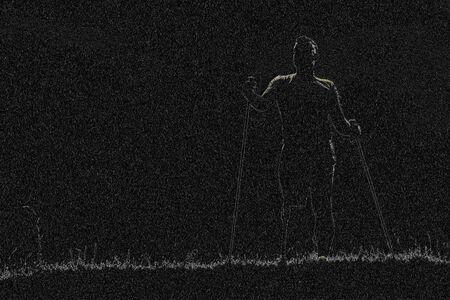 Confident man with prosthesis standing in black surrounding 版權商用圖片