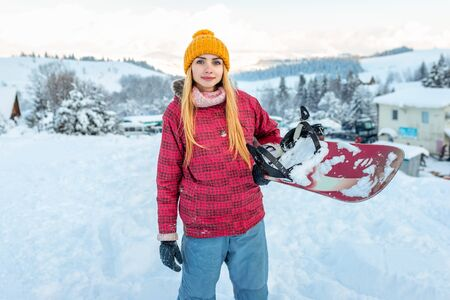 girl or woman snowboarder in ski equipment outdoor, winter season sport and lifestyle activity potret
