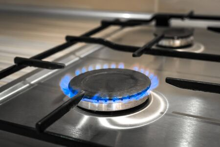 Gas stove on the home steel kitchen flame cook Burning