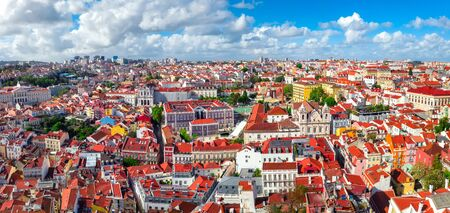 Lisbon panorama veiw on district Santa Catarina aerial cityscape red roofs and european beautiful architecture Portugal