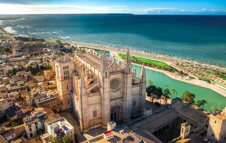 Palma de Mallorca aerial view on cathedral or church cityscape Spain majorca