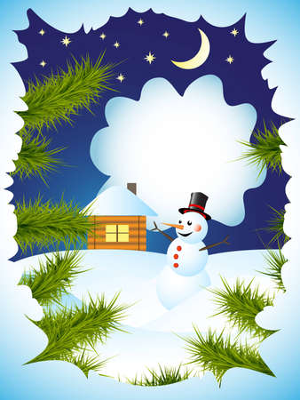 winter card with view through the spruce branches on snowman and house Stock Vector - 11861383