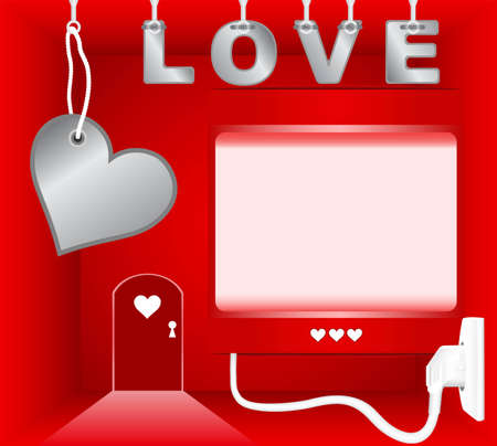 Red room with empty light box on theme of Valentines Day Vector