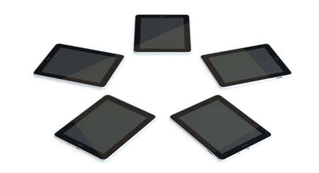 umpc: five tablet pc lie on the floor in a circle