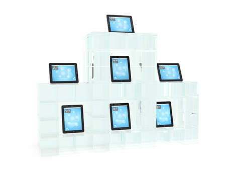 umpc: Glass showcase with tablet pc on white background