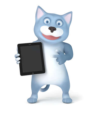 Cat with tablet pc photo